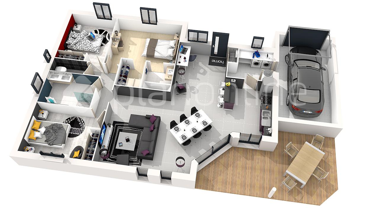 Plan maison en 3d sofag for Bain de pied maison