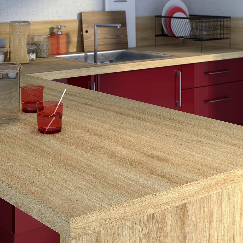 Beautiful Cuisine Rouge Plan De Travail Bois Ideas - Design Trends ...