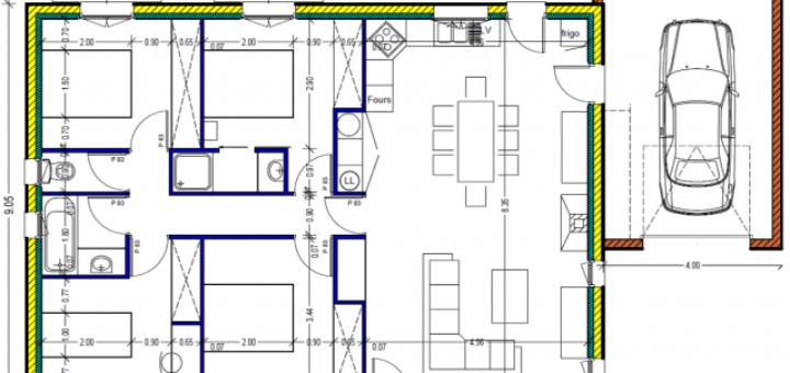 Plan maison plain pied 100m2 sofag for Cout maison plain pied 100m2