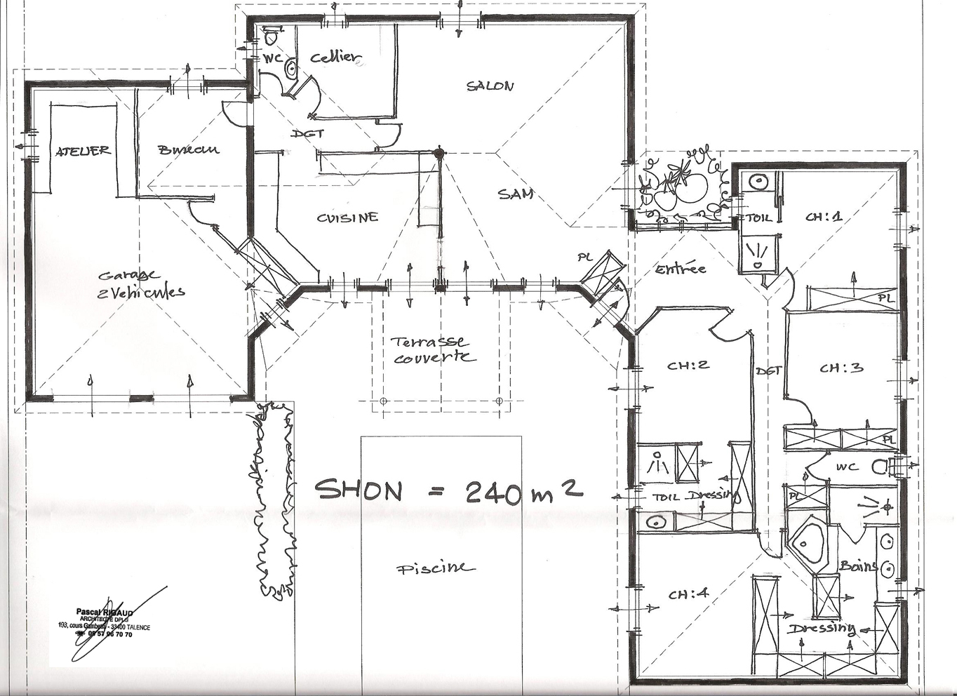 Architecte plan maison sofag for Plan maison en t