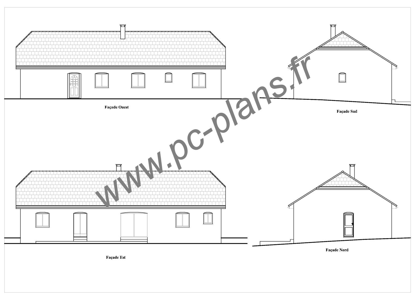 Plan facade maison sofag - Plan coupe facade maison ...