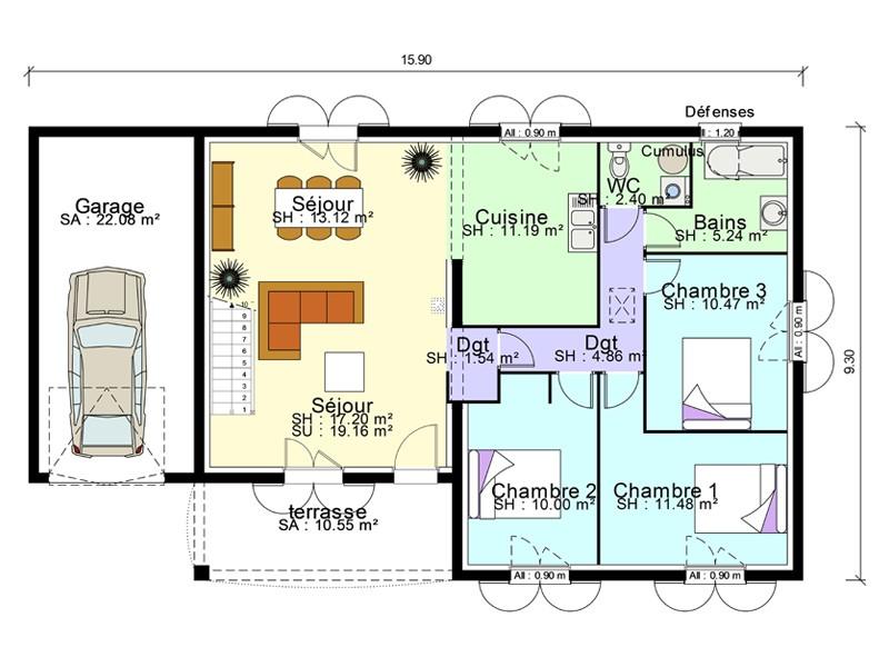 Maison individuelle plan sofag for Plan maison individuelle
