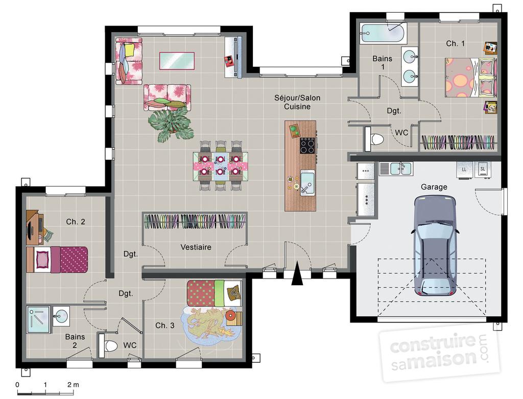 Célèbre Plan de maison contemporaine plain pied - sofag DS23