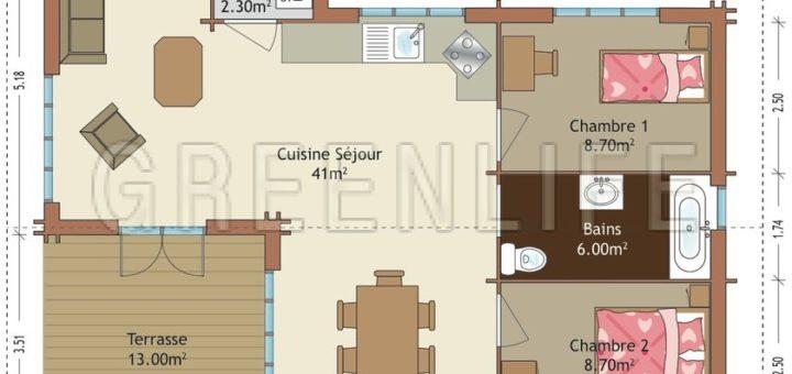 Latest plan maison m with plan maison 70m2 for Plan maison 70m2