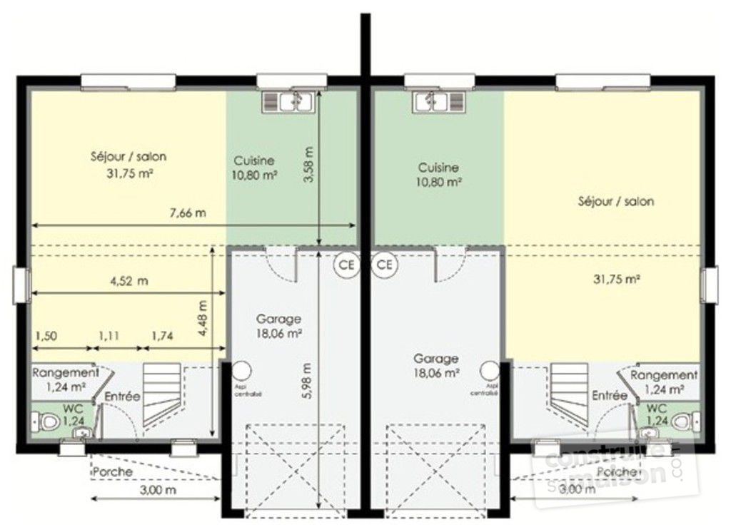 Plan maison double habitation sofag for Plan maison t3