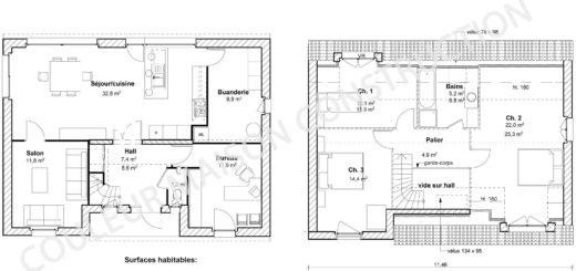 Plan maison 140 m2 plan maison en l avec etage with plan maison 140 m2 latest plan maison m for Plan maison 140m2