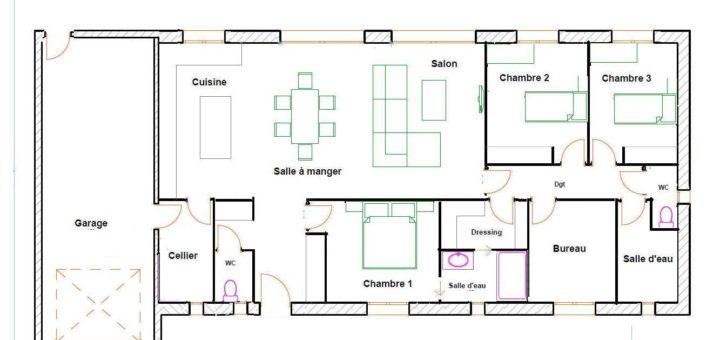 Plan maison plain pied 120m2 3 chambres hz12 jornalagora for Plan de maison de 120m2 avec garage