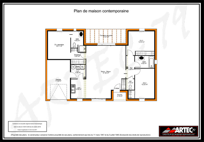 Plan de maison 75m2 sofag for Maison rectangulaire moderne