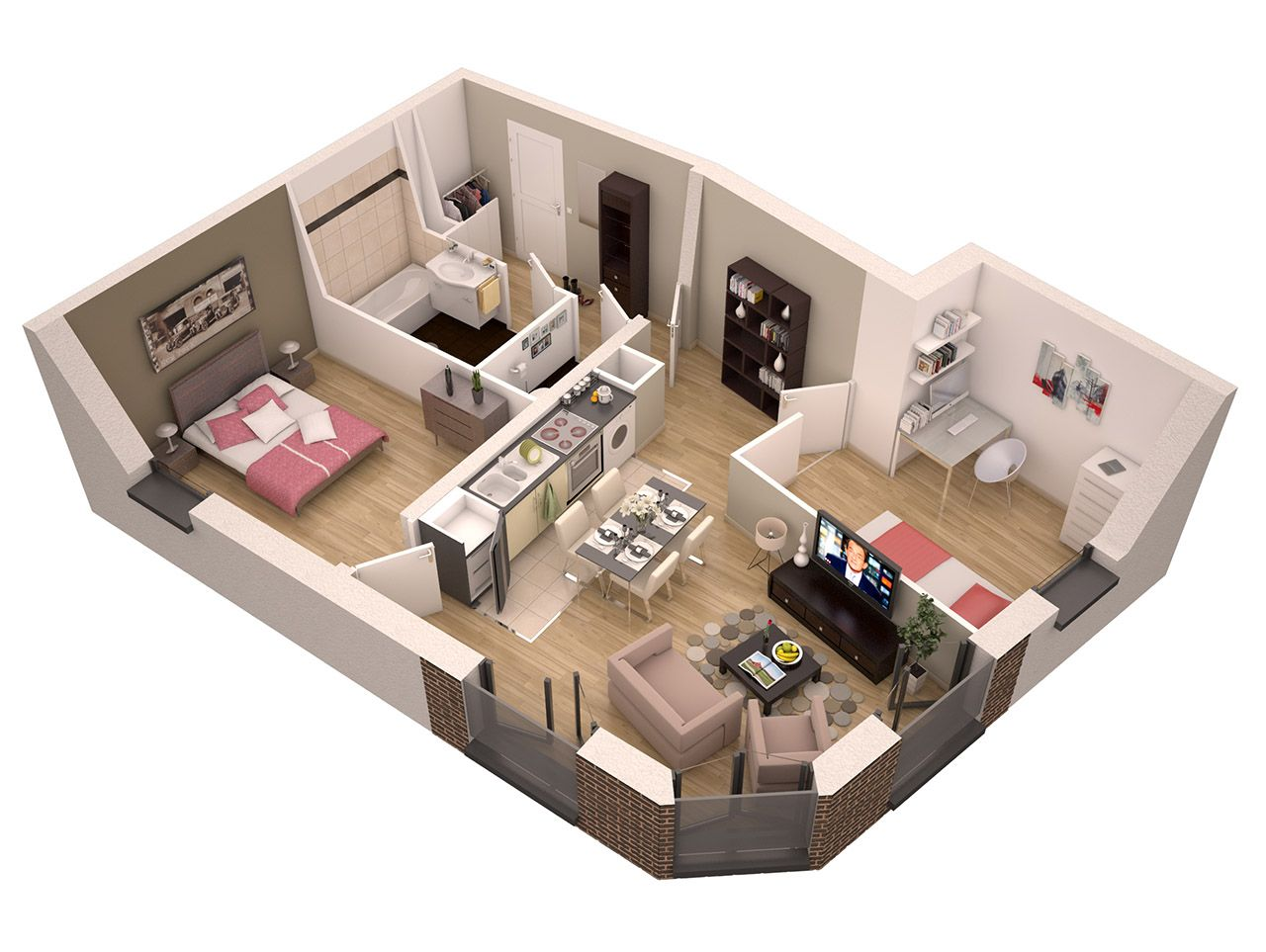 plan d'appartement 3d
