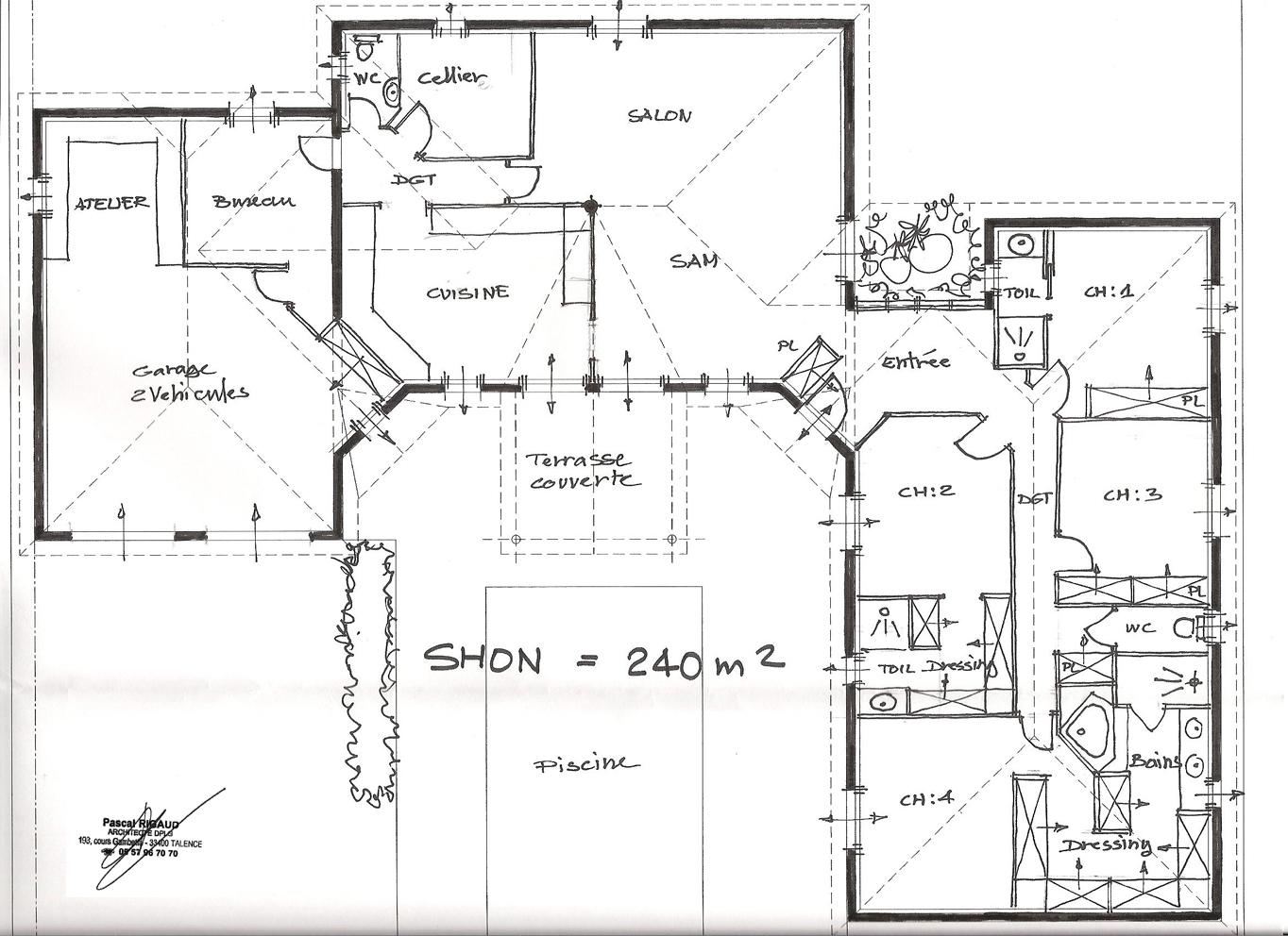 Architecte plan maison sofag for Plan maison 150m2 plain pied