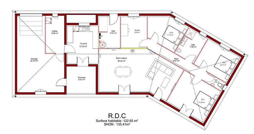 Plan de maison plain pied moderne avec garage avie home for Modele maison plain pied avec garage