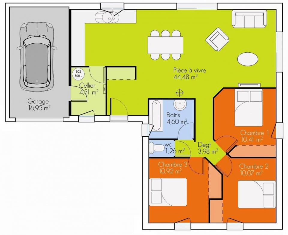 Plan plain pied 3 chambres sofag for Plan maison 3 chambres et un bureau