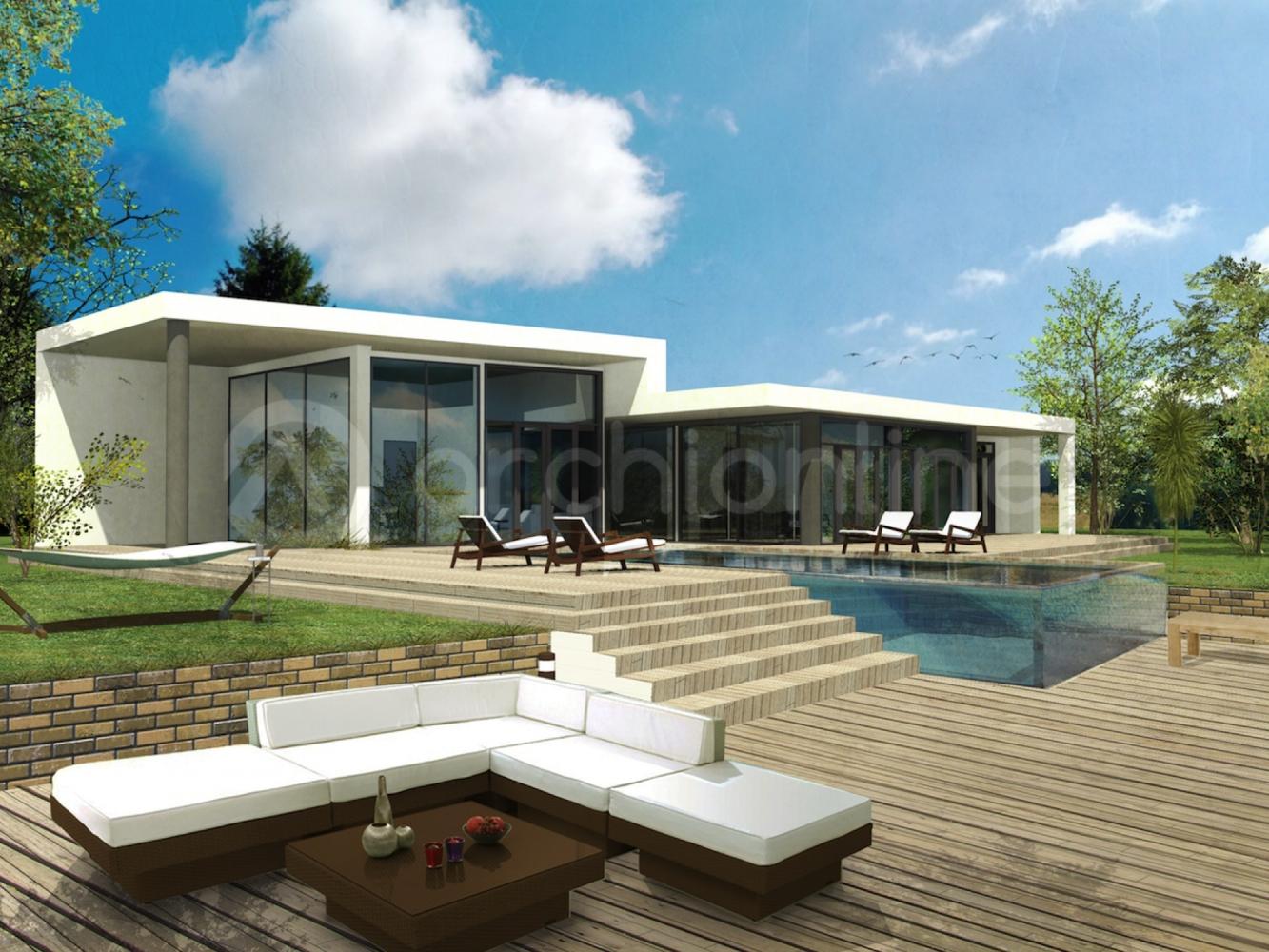 Maison plein pied moderne sofag - Plan maison plain pied avec piscine ...