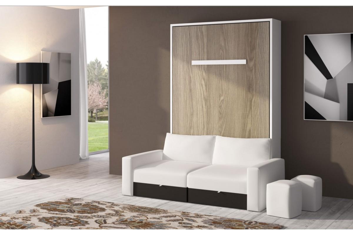 Armoire lit escamotable avec canape sofag - Lit rabattable mural ...